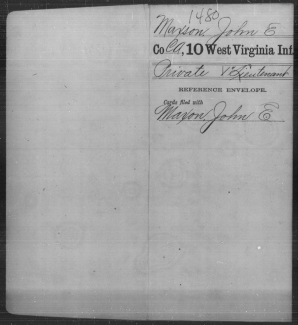 Maxson, John E - Age [Blank], Year: [Blank] - Tenth Infantry - West Virginia