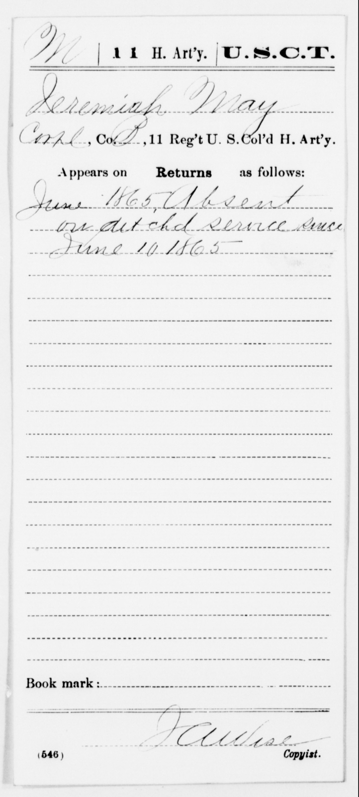 May, Jeremiah - Age [Blank], Year: 1865 - 11th US Colored Heavy Artillery, Misc Cards, E-Y - United States Colored Troops: Artillery Organizations