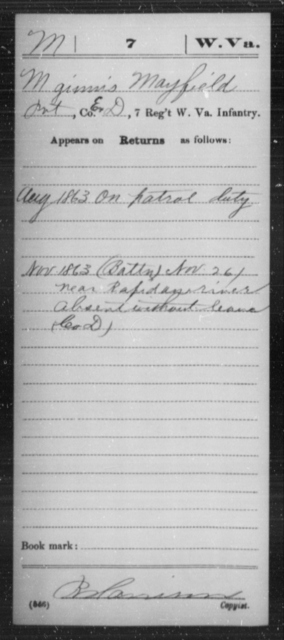 Mayfield, Mginuis - Age [Blank], Year: 1863 - Miscellaneous Card Abstracts of Records - West Virginia
