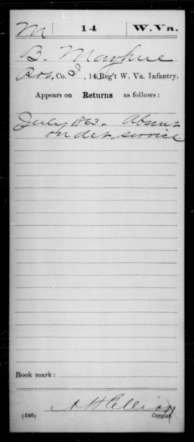 Mayhue, B - Age [Blank], Year: 1863 - Miscellaneous Card Abstracts of Records - West Virginia