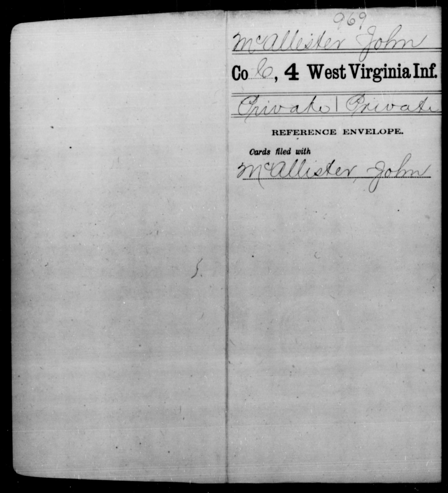 McAllester, John - Age [Blank], Year: [Blank] - Fourth Infantry, Bo-Z - West Virginia