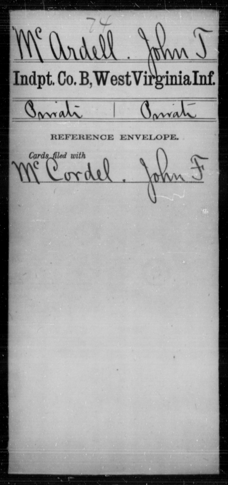 McArdell, John T - Age [Blank], Year: [Blank] - Independent Company A, Infantry AND Independent Company B, Infantry AND Unassigned Men, M-S - West Virginia