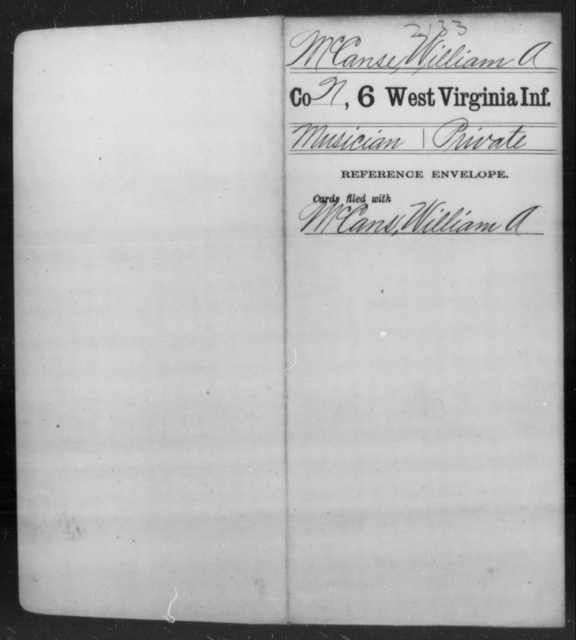 McCanse, William A - Age [Blank], Year: [Blank] - Sixth Infantry - West Virginia