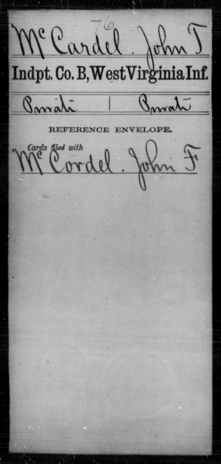 McCardel, John T - Age [Blank], Year: [Blank] - Independent Company A, Infantry AND Independent Company B, Infantry AND Unassigned Men, M-S - West Virginia