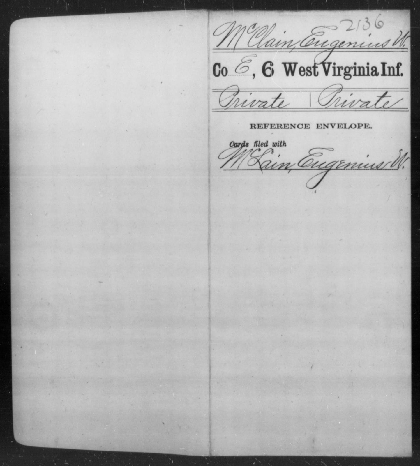 McClain, Eugenius W - Age [Blank], Year: [Blank] - Sixth Infantry - West Virginia