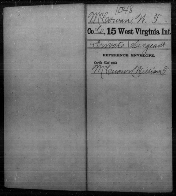 McCowan, W T - Age [Blank], Year: [Blank] - Fifteenth Infantry - West Virginia