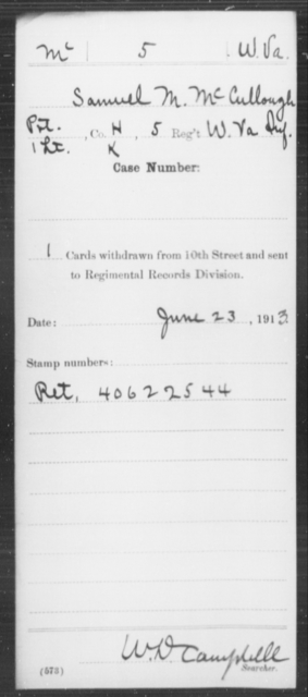 McCullough, Samuel M - Age [Blank], Year: [Blank] - Miscellaneous Card Abstracts of Records - West Virginia