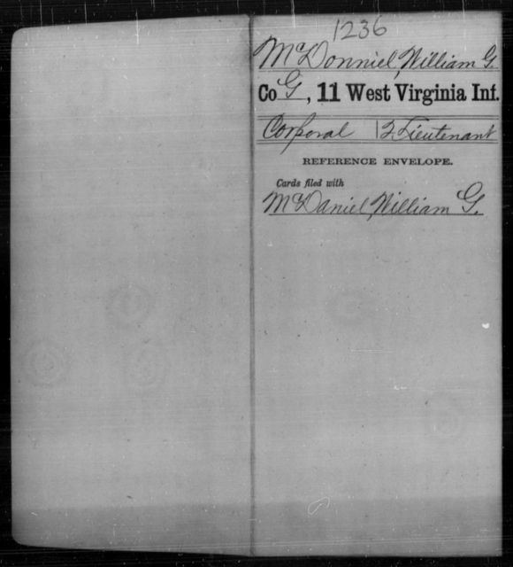 McDonniel, William G - Age [Blank], Year: [Blank] - Eleventh Infantry - West Virginia