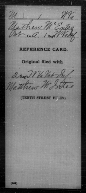 McEntee, Mathew - Age [Blank], Year: [Blank] - Miscellaneous Card Abstracts of Records - West Virginia