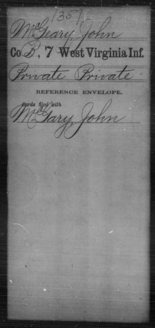 McGeary, John - Age [Blank], Year: [Blank] - Seventh Infantry - West Virginia