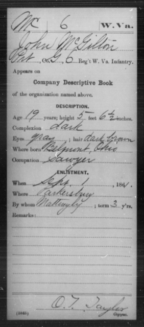 McGilton, John - Age 19, Year: 1861 - Miscellaneous Card Abstracts of Records - West Virginia
