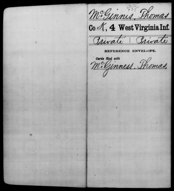 McGinnis, Thomas - Age [Blank], Year: [Blank] - Fourth Infantry, Bo-Z - West Virginia