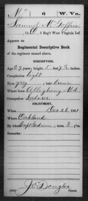 McGoffin, Samuel - Age 29, Year: 1861 - Miscellaneous Card Abstracts of Records - West Virginia