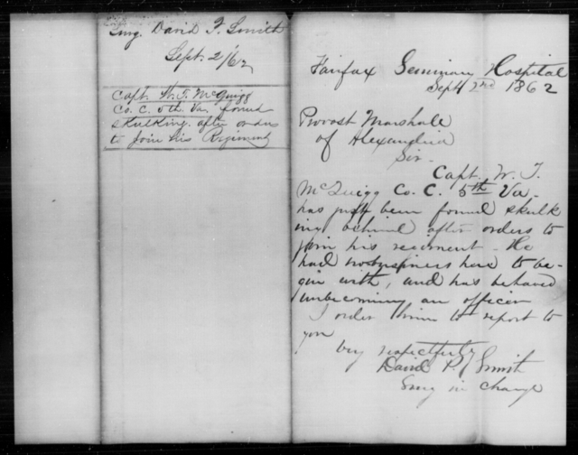 McGuigg, W T - Age [Blank], Year: 1862 - Personal Papers Arranged by Organizations - West Virginia