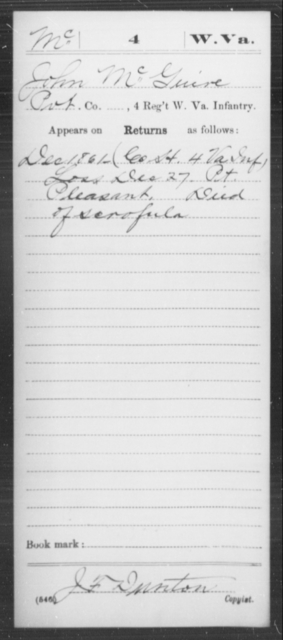 McGuire, John - Age [Blank], Year: 1861 - Miscellaneous Card Abstracts of Records - West Virginia