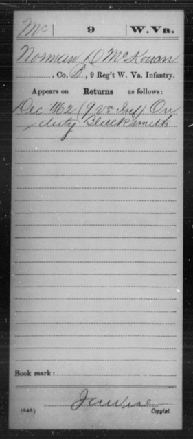 McKouan, Norman D - Age [Blank], Year: 1862 - Miscellaneous Card Abstracts of Records - West Virginia