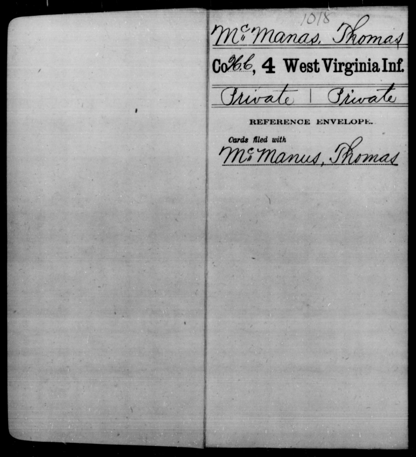 McManas, Thomas - Age [Blank], Year: [Blank] - Fourth Infantry, Bo-Z - West Virginia