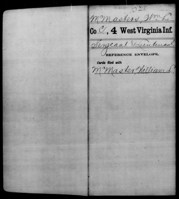 McMasters, Wm L - Age [Blank], Year: [Blank] - Fourth Infantry, Bo-Z - West Virginia