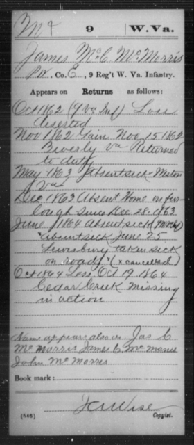 McMorris, James McC - Age [Blank], Year: 1862 - Miscellaneous Card Abstracts of Records - West Virginia