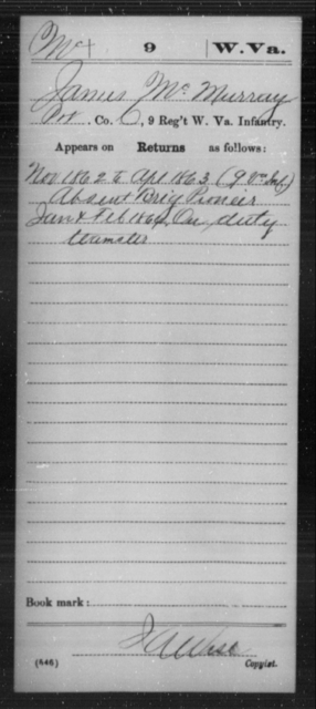 McMurray, James - Age [Blank], Year: 1862 - Miscellaneous Card Abstracts of Records - West Virginia