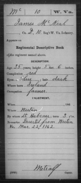 McNeal, James - Age 35, Year: 1862 - Miscellaneous Card Abstracts of Records - West Virginia