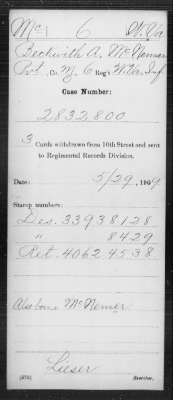 McNemar, Beckwith A - Age [Blank], Year: [Blank] - Miscellaneous Card Abstracts of Records - West Virginia