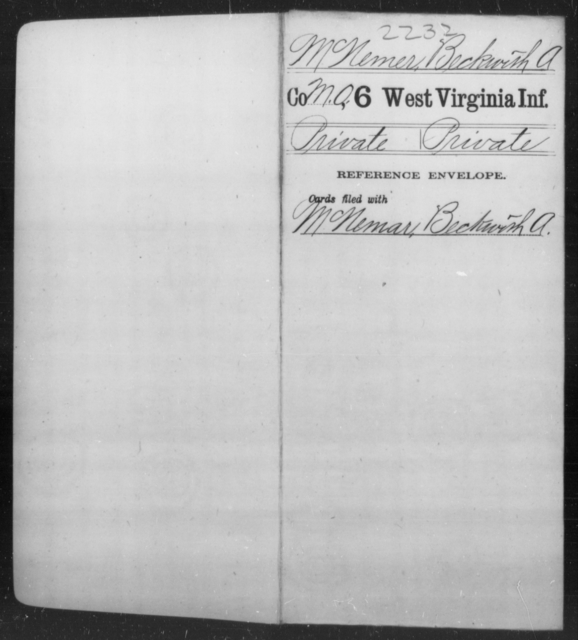 McNemer, Beckwith A - Age [Blank], Year: [Blank] - Sixth Infantry - West Virginia