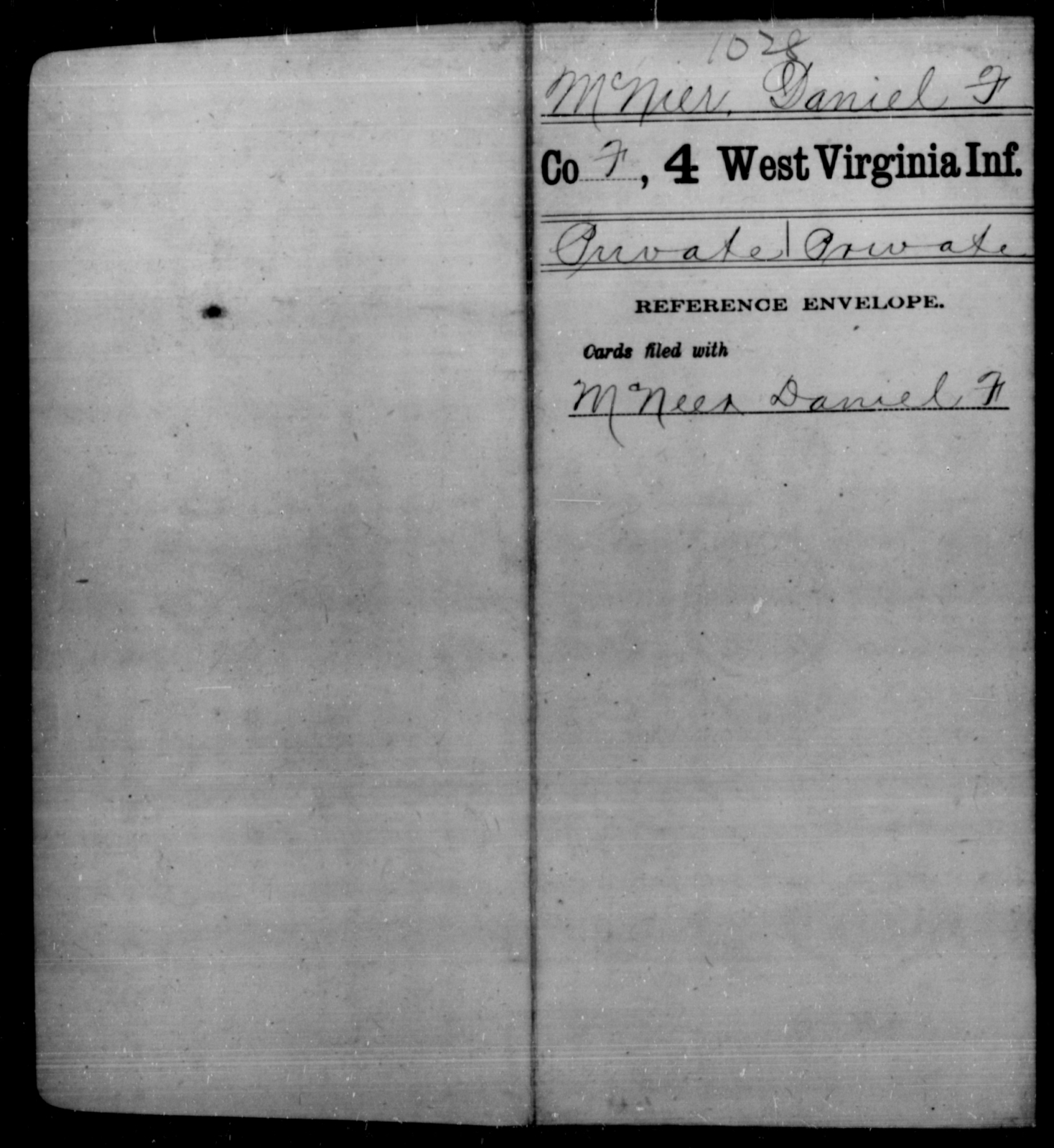 McNier, Daniel F - Age [Blank], Year: [Blank] - Fourth Infantry, Bo-Z - West Virginia