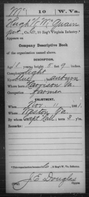 McQuain, Hugh W - Age 18, Year: 1861 - Miscellaneous Card Abstracts of Records - West Virginia