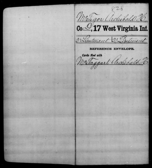 McTigor, Archibald H - Age [Blank], Year: [Blank] - Seventeenth Infantry - West Virginia