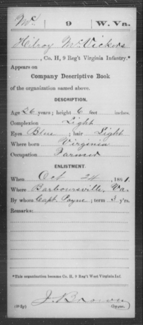 McVickers, Hilroy - Age 26, Year: 1861 - Miscellaneous Card Abstracts of Records - West Virginia