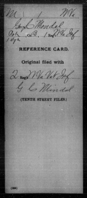 Mendel, George C - Age [Blank], Year: [Blank] - Miscellaneous Card Abstracts of Records - West Virginia