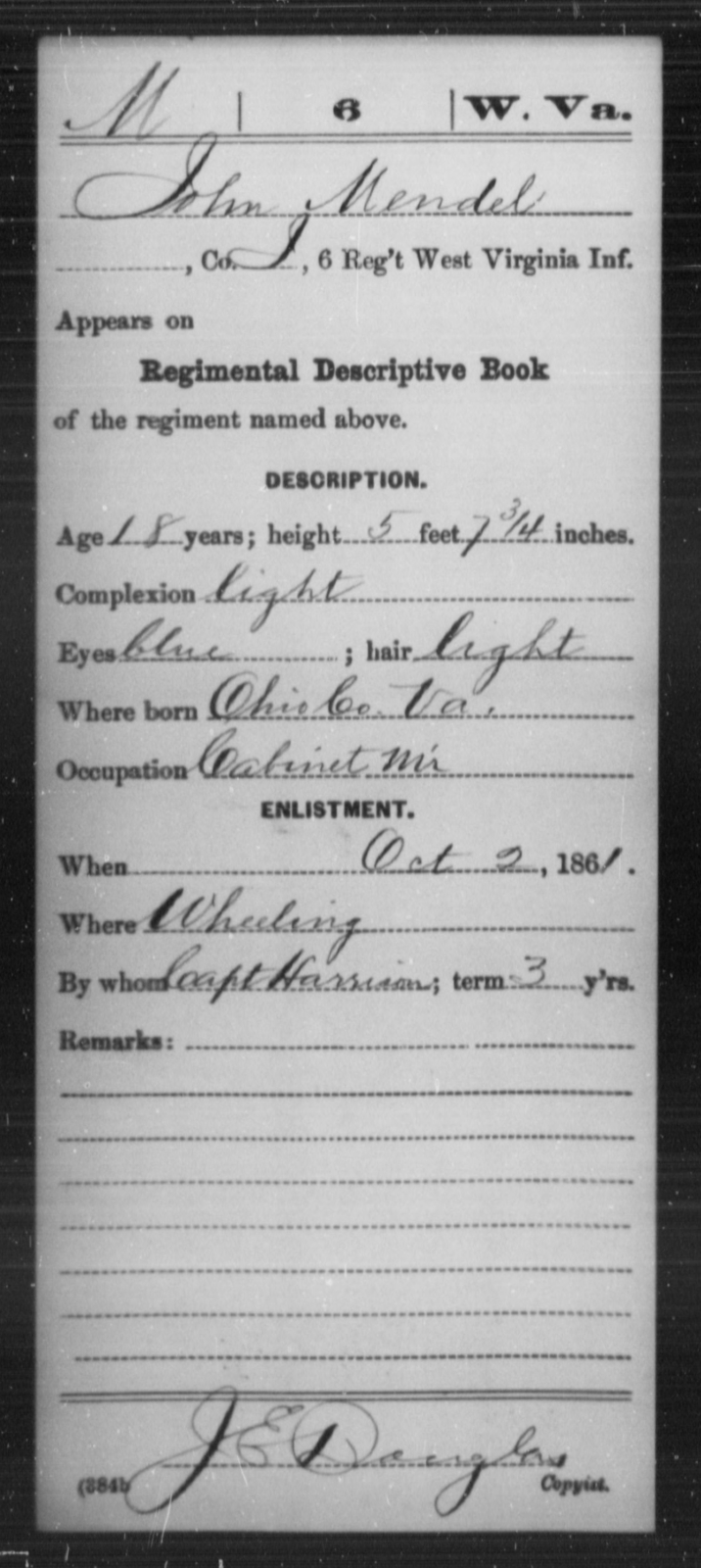 Mendel, John - Age 18, Year: 1861 - Miscellaneous Card Abstracts of Records - West Virginia