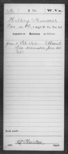 Menicker, Hillery - Age [Blank], Year: 1865 - Miscellaneous Card Abstracts of Records - West Virginia
