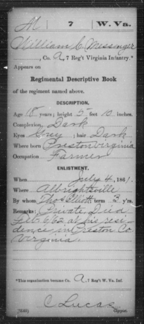 Messenger, William C - Age 18, Year: 1861 - Miscellaneous Card Abstracts of Records - West Virginia