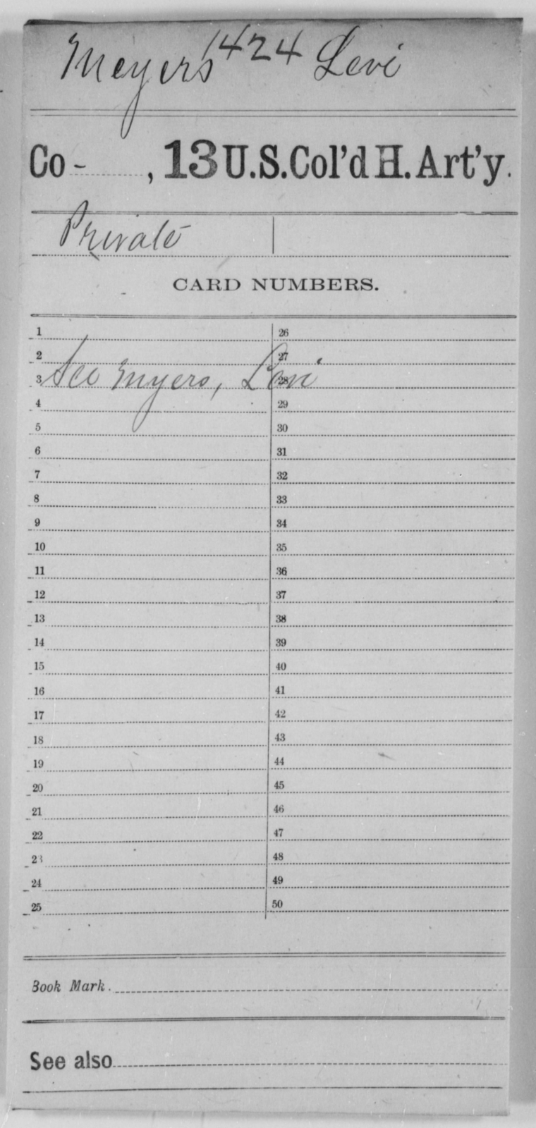 Meyers, Levi - Age [Blank], Year: [Blank] - 13th US Colored Heavy Artillery - United States Colored Troops: Artillery Organizations