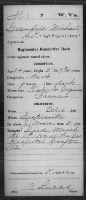 Michael, Greenfield - Age 24, Year: 1861 - Miscellaneous Card Abstracts of Records - West Virginia