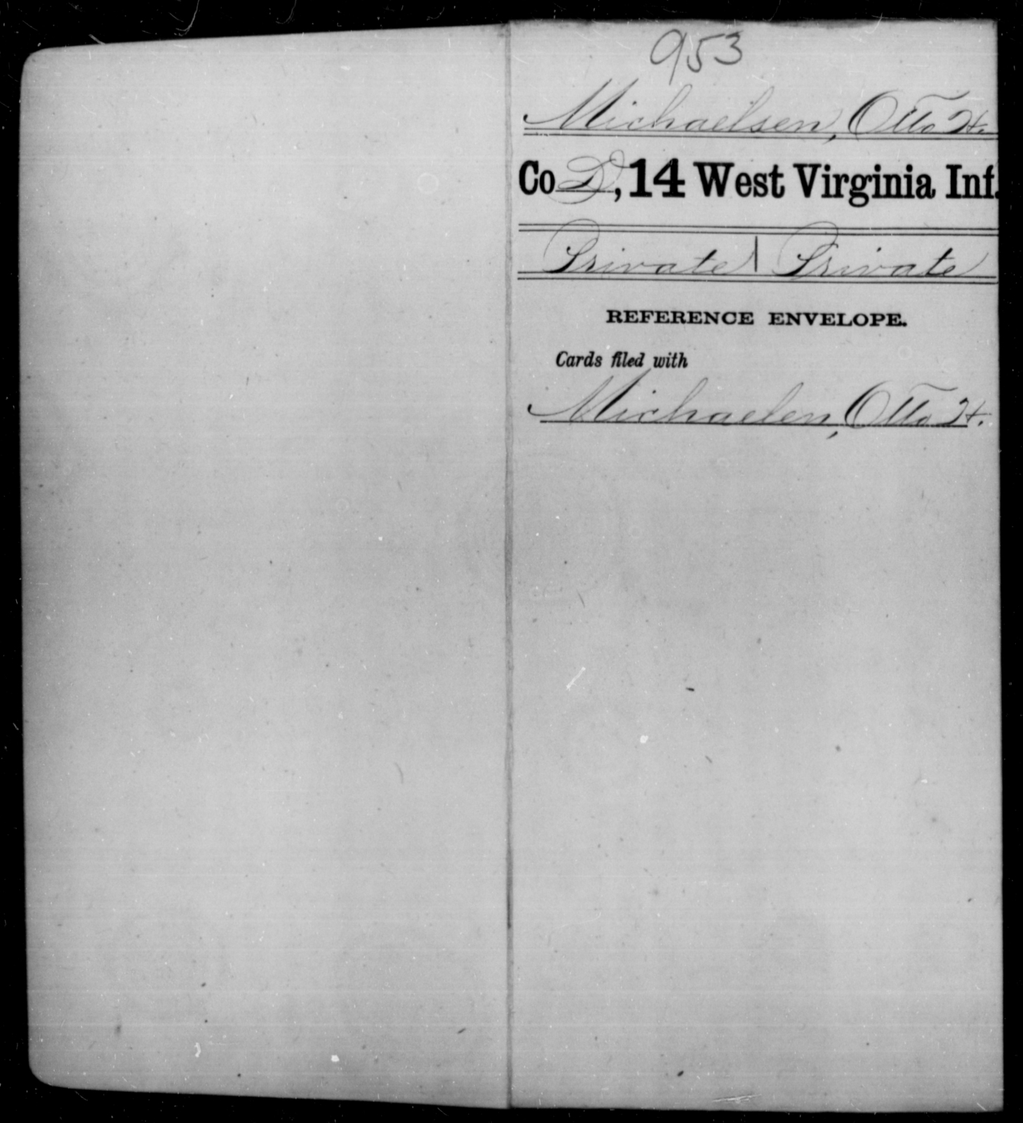 Michaelsen, Otto H - Age [Blank], Year: [Blank] - Fourteenth Infantry, C-Z - West Virginia