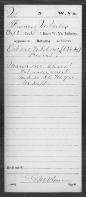 Miles, Francis M - Age [Blank], Year: 1861 - Miscellaneous Card Abstracts of Records - West Virginia
