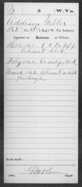 Miller, Addison - Age [Blank], Year: 1861 - Miscellaneous Card Abstracts of Records - West Virginia