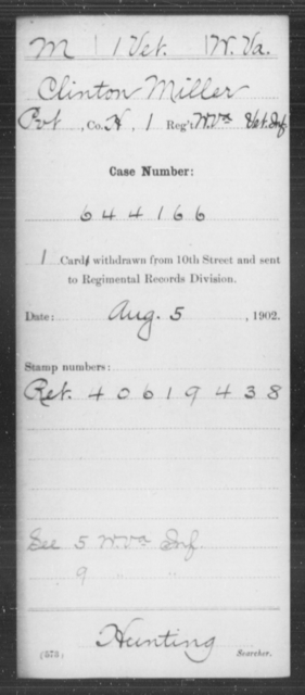 Miller, Clinton - Age [Blank], Year: [Blank] - Miscellaneous Card Abstracts of Records - West Virginia