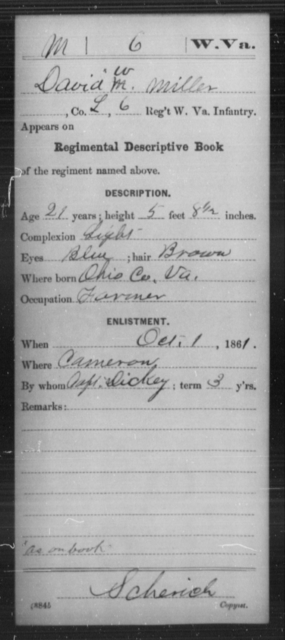 Miller, David W - Age 21, Year: 1861 - Miscellaneous Card Abstracts of Records - West Virginia