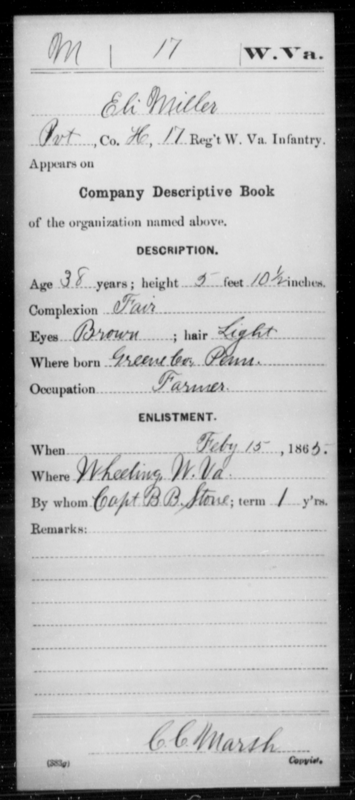 Miller, Eli - Age 38, Year: 1865 - Miscellaneous Card Abstracts of Records - West Virginia