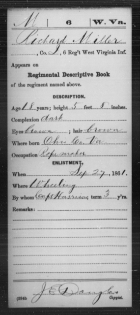 Miller, Richard - Age 18, Year: 1861 - Miscellaneous Card Abstracts of Records - West Virginia