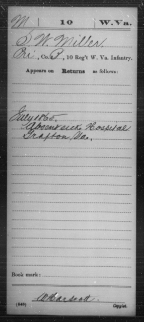 Miller, S W - Age [Blank], Year: 1865 - Miscellaneous Card Abstracts of Records - West Virginia