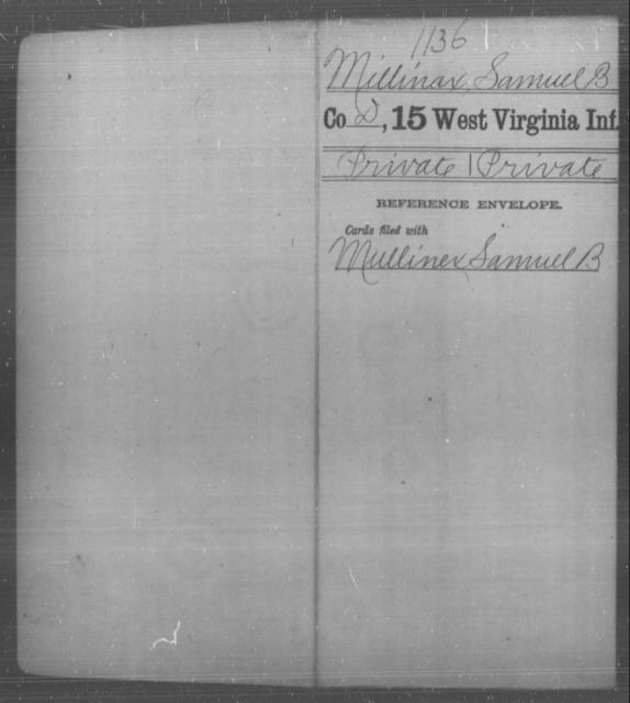 Millinax, Samuel B - Age [Blank], Year: [Blank] - Fifteenth Infantry - West Virginia