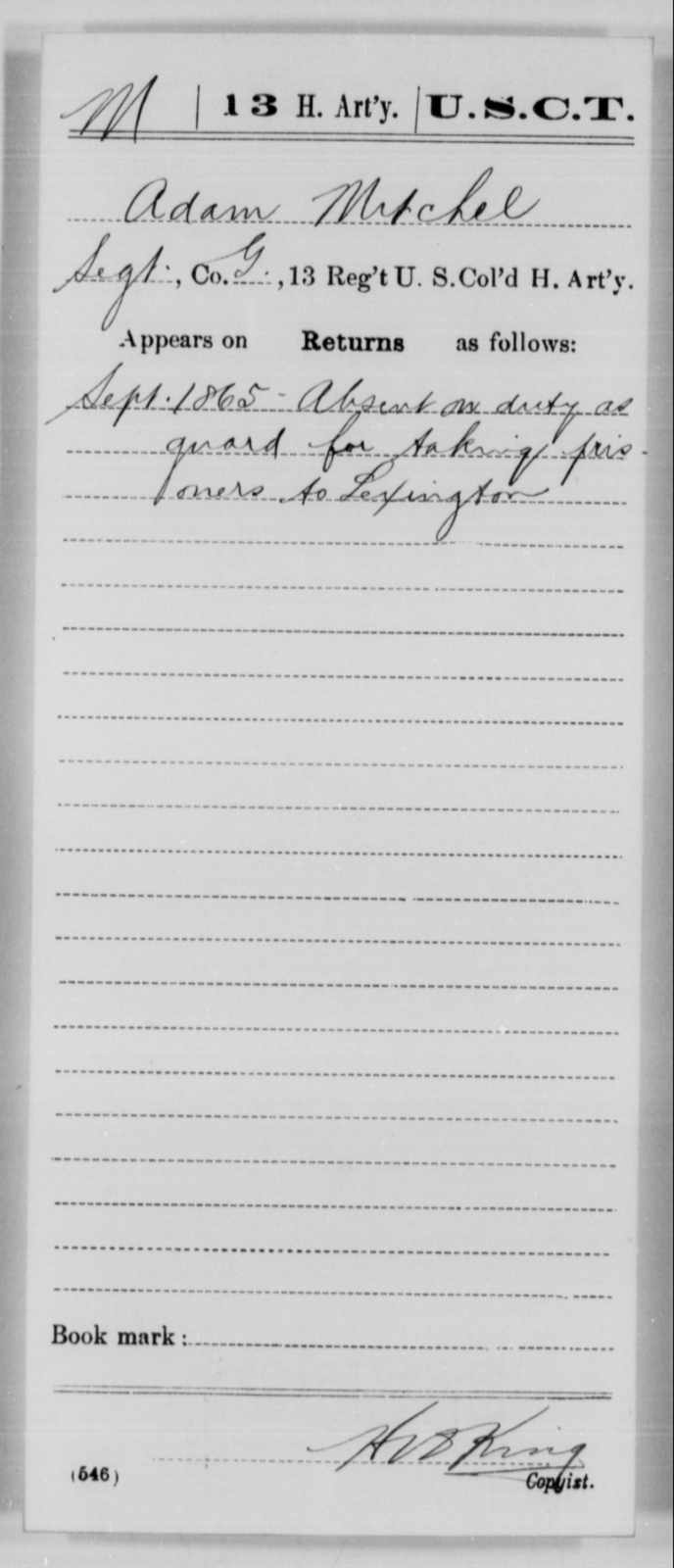Mitchel, Adam - Age [Blank], Year: 1865 - 13th US Colored Heavy Artillery, Misc Cards - United States Colored Troops: Artillery Organizations