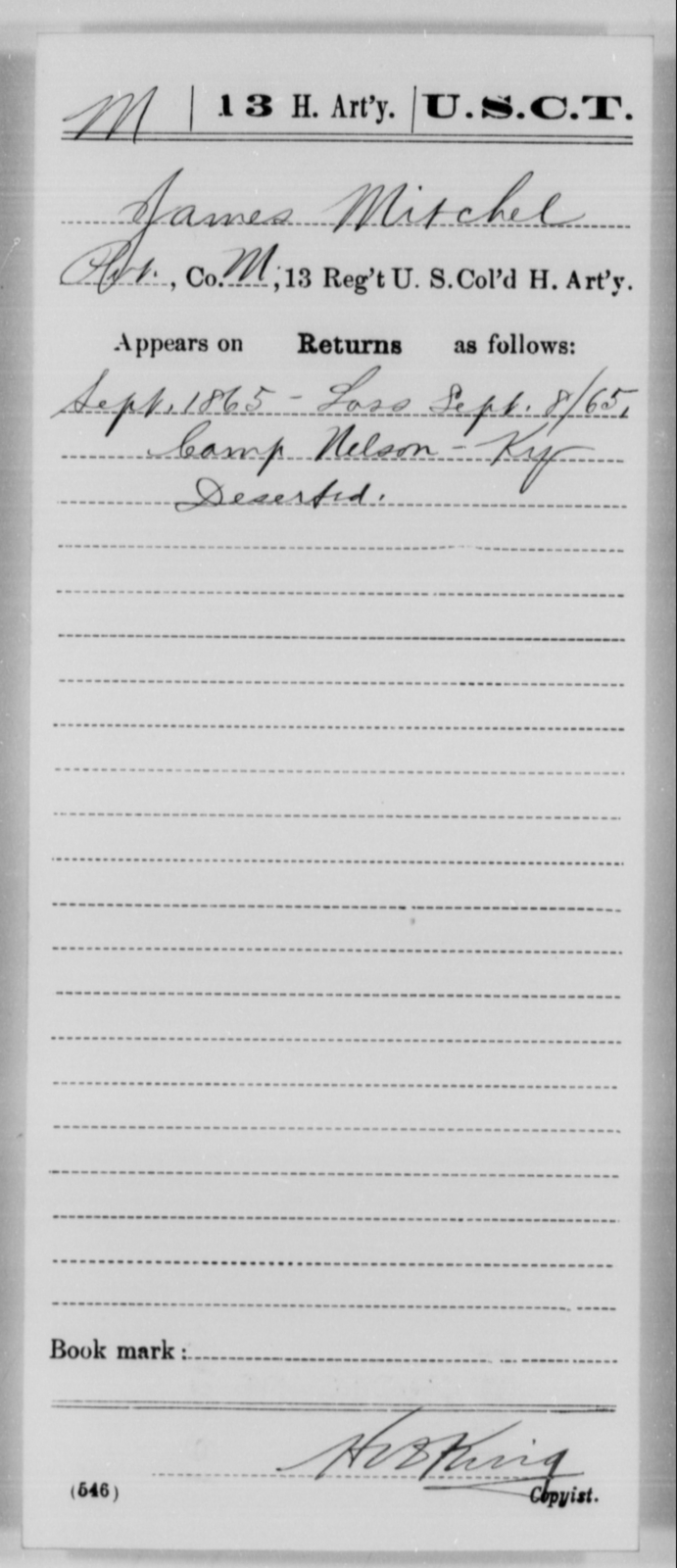 Mitchel, James - Age [Blank], Year: 1865 - 13th US Colored Heavy Artillery, Misc Cards - United States Colored Troops: Artillery Organizations