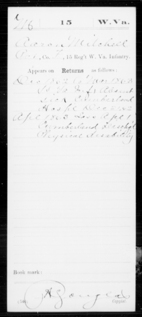 Mitchell, Aaron - Age [Blank], Year: 1862 - Miscellaneous Card Abstracts of Records - West Virginia