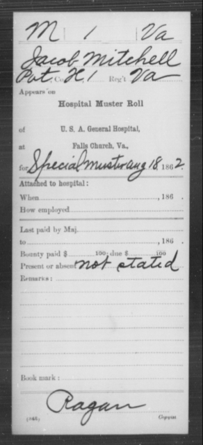Mitchell, Jacob - Age [Blank], Year: 1862 - Miscellaneous Card Abstracts of Records - West Virginia